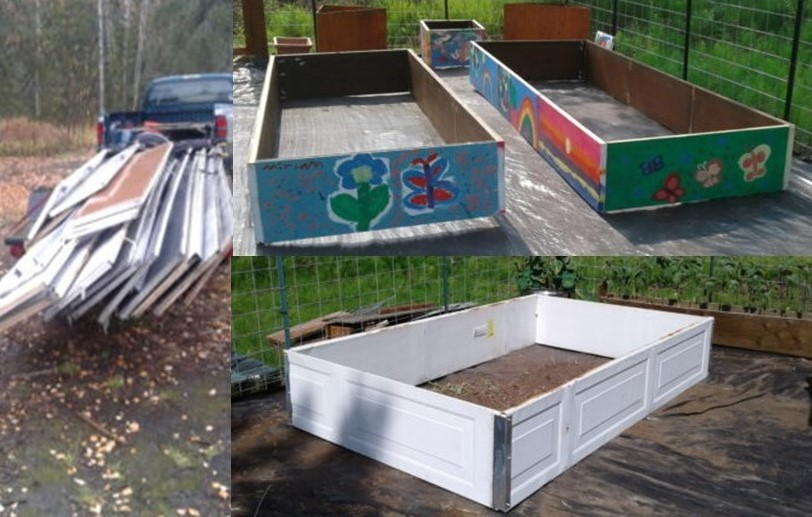 Left, a truck with garage panels in it, right top, painted empty raised beds built out of garage door panels, bottom right, an empty raised bed built with white garage panels.